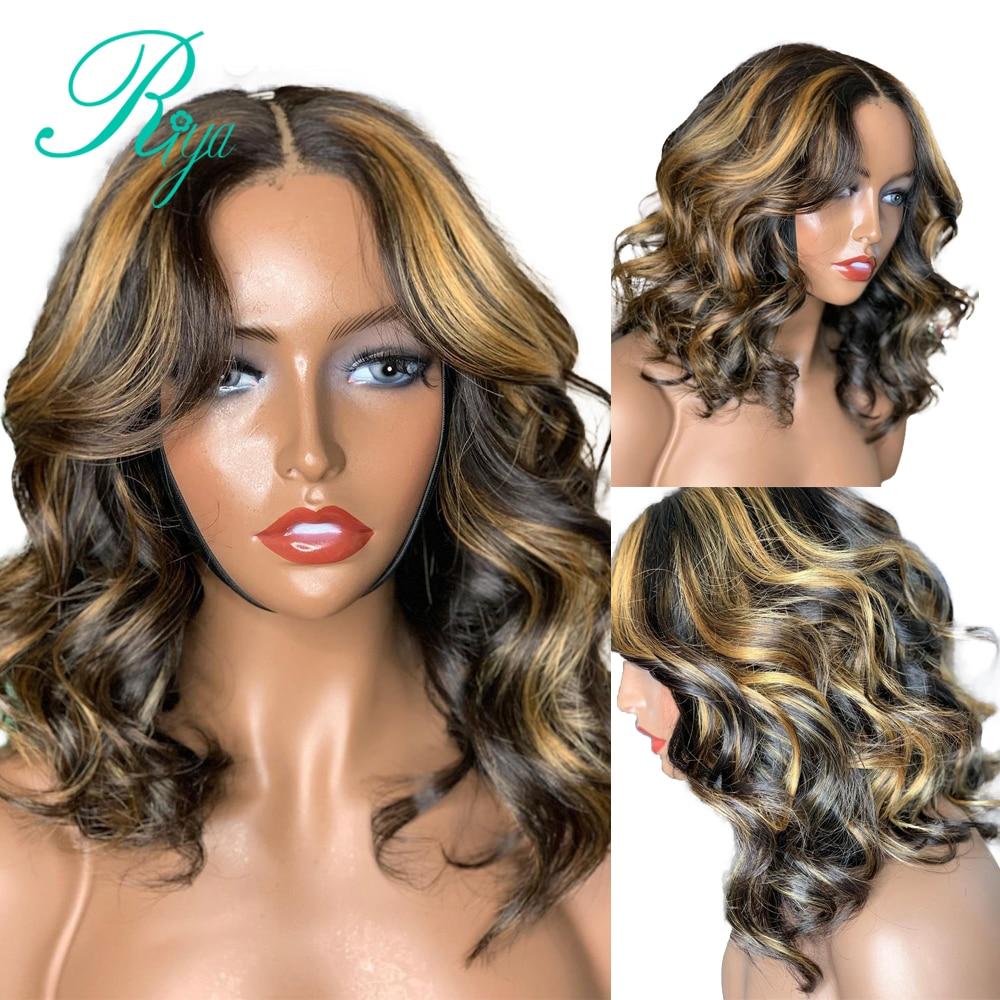4x4 fechamento do laço peruca destaque ombre mel loira cor pixie curto ondulado bob corte frente laço peruca de cabelo humano para preto feminino remy