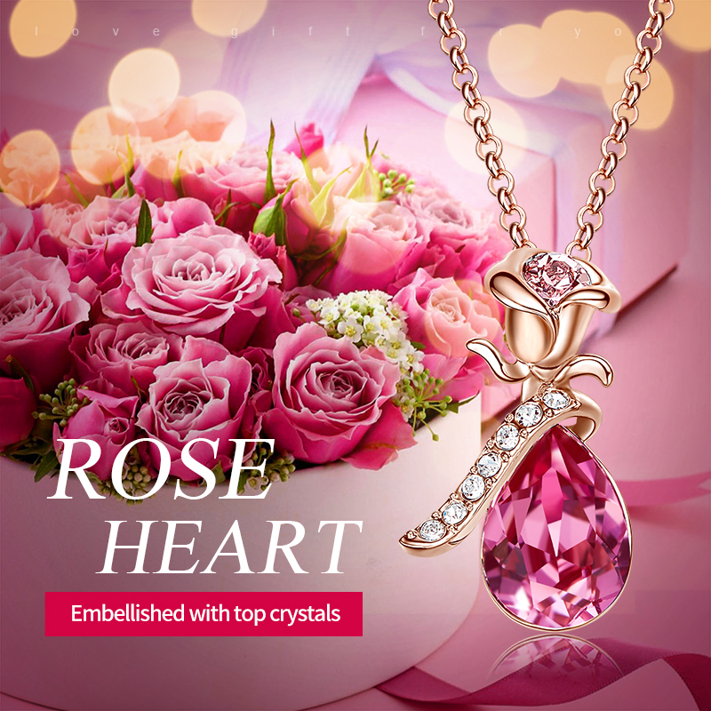 Image 2 - Cdyle Boho Jewelry Gold Necklace Chain Pink Crystal Rose Flower Pendant Necklace with Zircon for Female Wedding Anniversary Giftrose goldcrystal crystalnecklace crystal -