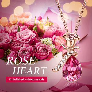Image 2 - Cdyle Boho Jewelry Gold Necklace Chain Pink Crystal Rose Flower Pendant Necklace with Zircon for Female Wedding Anniversary Gift