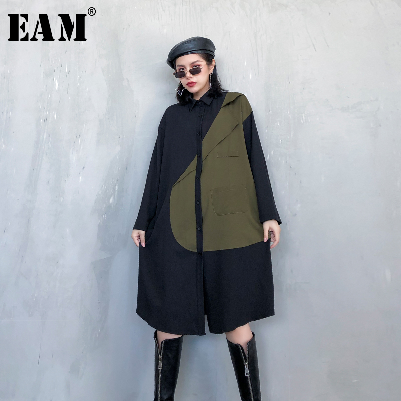 [EAM] Women Green Contrast Color Big Size Shirt Dress New Lapel Long Sleeve Loose Fit Fashion Tide Spring Autumn 2020 1R790