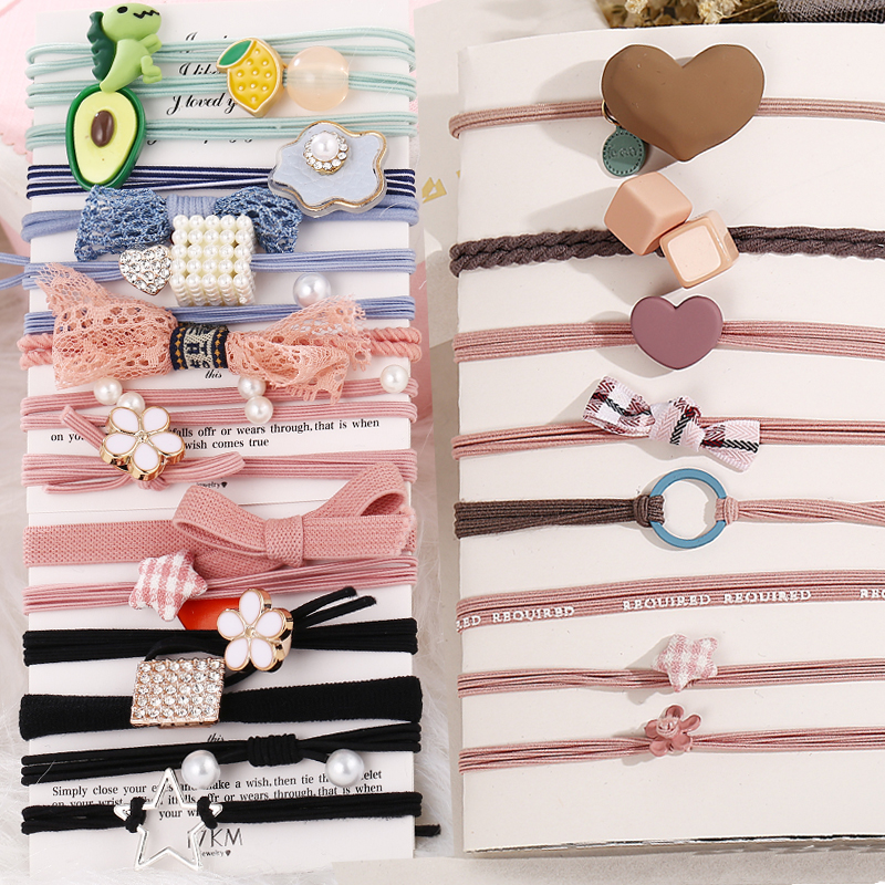 Vintage Women Star Heart Elastic Hair Bands 2020 Fashion Bow Ponytail Holder Scrunchie Rubber Bands Headband Hair Accessories