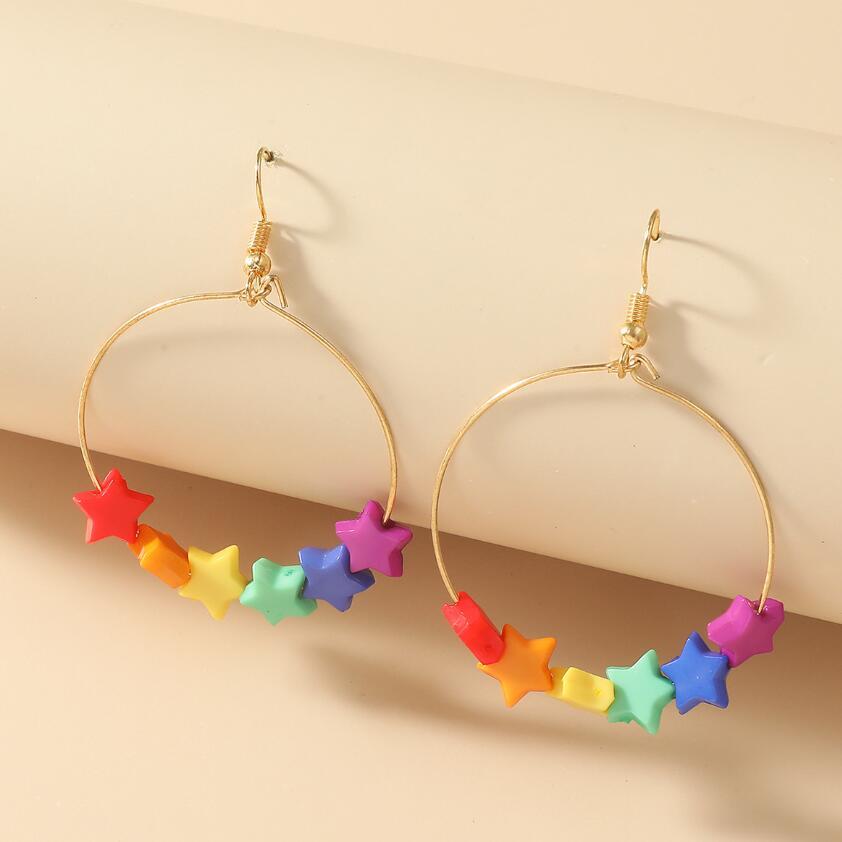 Colorful Color Star Pendant Drop Earrings