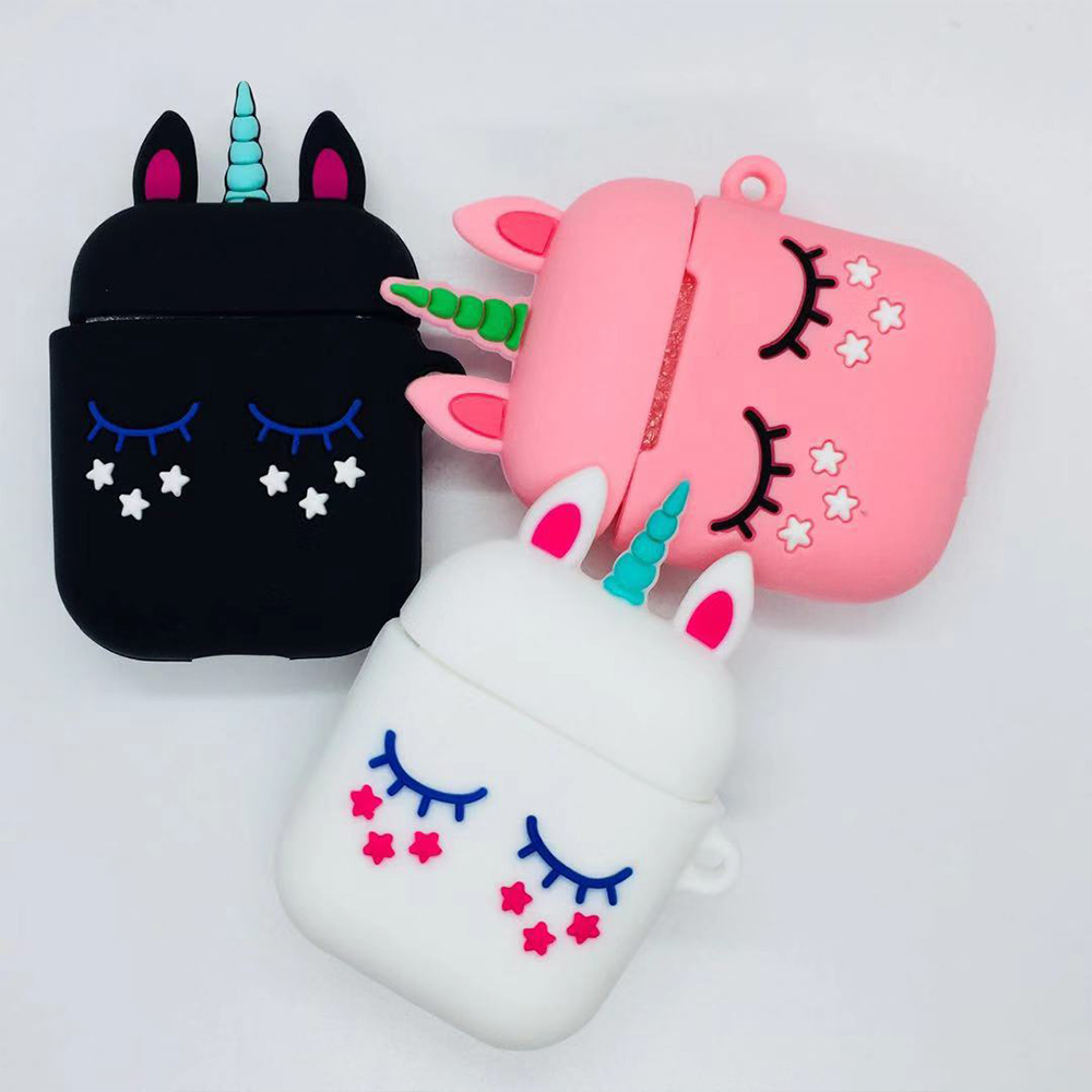 silicon case For airpods 1 2 airpods Case Cute <font><b>unicorn</b></font> Pink Cartoon Wireless Earphone Case For air pods 2 case image