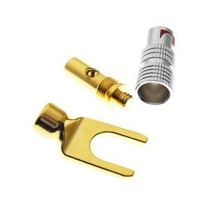 Image 3 - 2PCS 24K Gold Plated Nakamichi DIY HIFI U Y Spade Speaker Plug Audio Screw Fork Connector for Binding Post Banana Jack Adapter