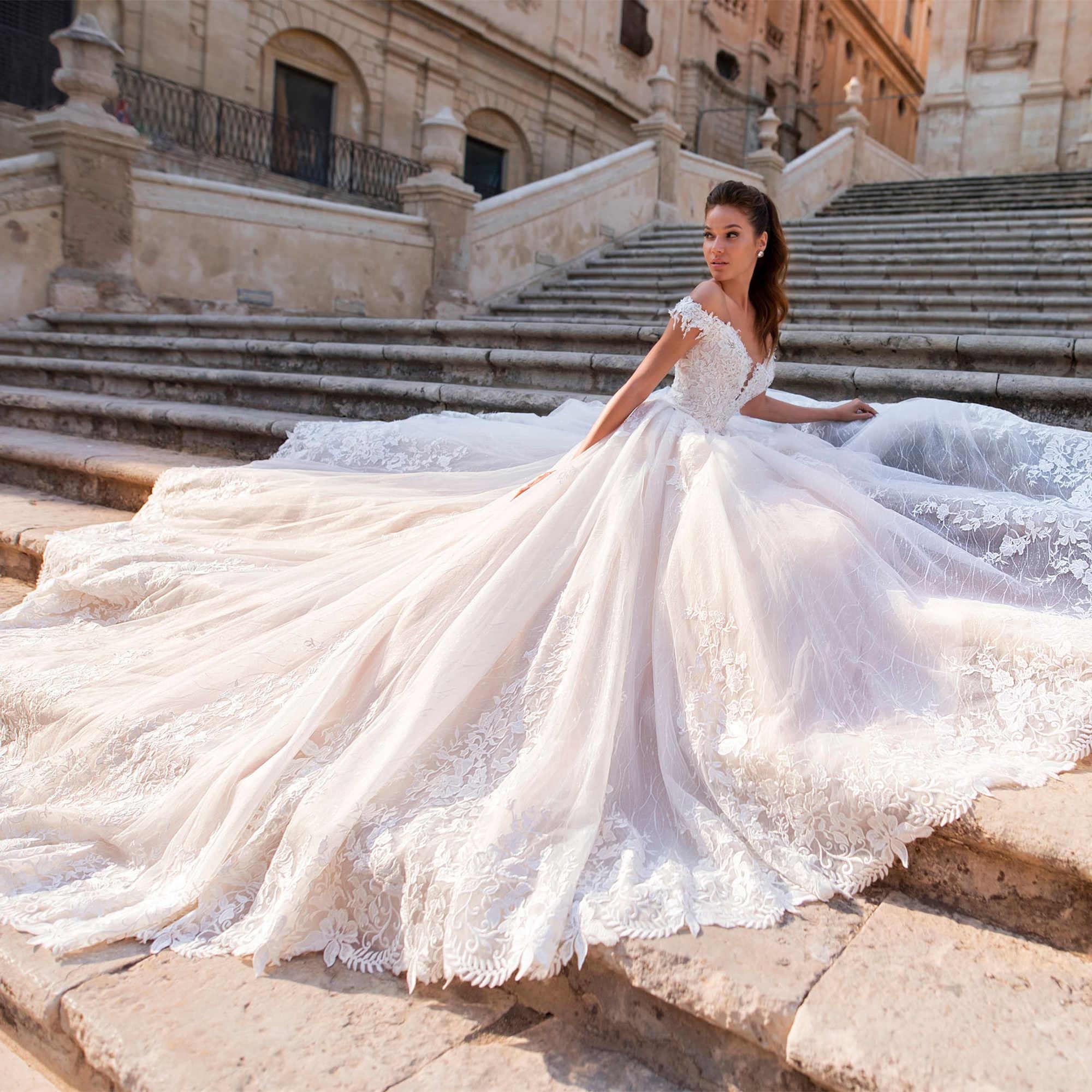 Sexy Off Shoulder A Line Wedding Dress Princess 2019 Button Back