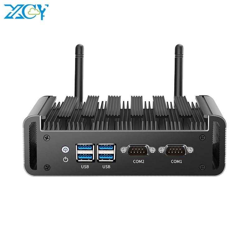 XCY Mini PC Intel Core I7 5500U I5 5200U I3 5005U DDR3L MSATA SSD 2x RS232 Dual NIC HDMI VGA 4xUSB3.0 WiFi Support Windows Linux