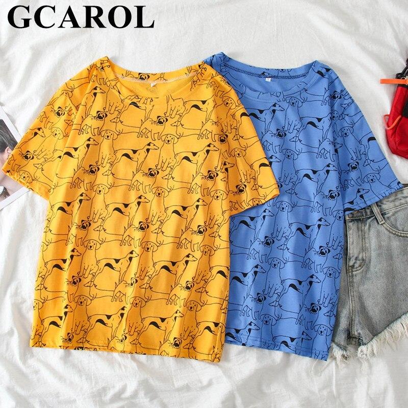 GCAROL Spring Summer Women Cartoon T-shirts Puppy Graphic Tees Girls'Streetwear Oversize Cute Tops Aesthetic Clothes M-XL