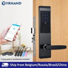 TTlock aplikacji bezpieczeństwa elektroniczny zamek do drzwi, App WIFI inteligentny ekran dotykowy zamek, kod cyfrowy klawiatura Deadbolt dla domowy Hotel apartament