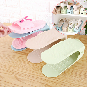 Adjustable Double-layer Shoe Rack Plastic Storage Shoe Holder Organizer Stand Space Saver Stand Shelf Shoebox for Living Room