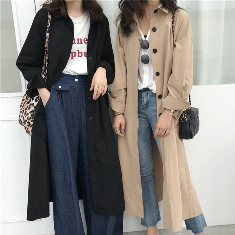 Women Autumn Full Sleeve Double Breasted Long Trench Coat Female Pockets Straight Shirt Windbreaker Overcoat Ladies Clothing