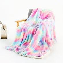 Модное Радужное одеяло из овечьей шерсти для кроватей дивана