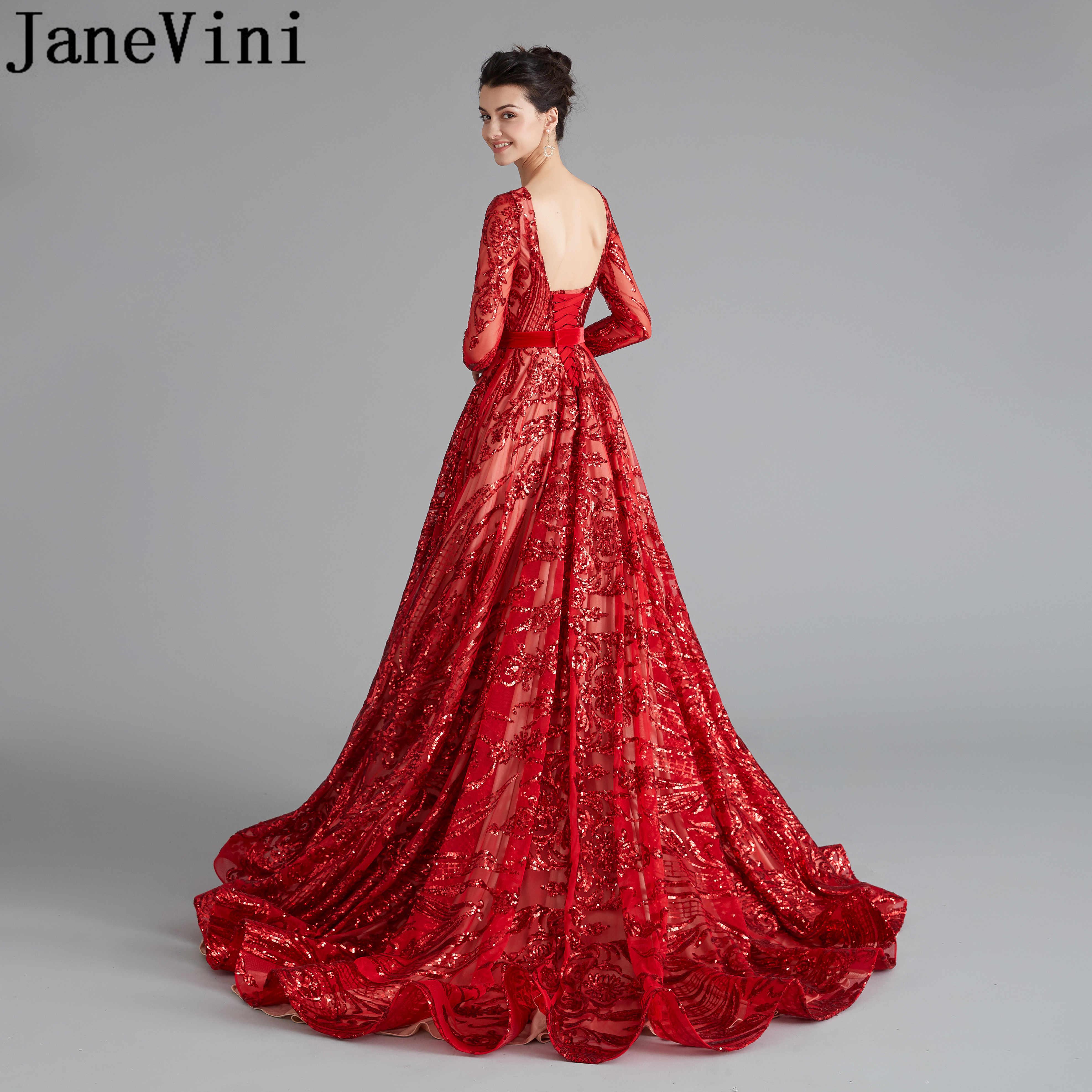 JaneVini Arabic Red Evening Prom Dresses 20 Bling Bling Sequined Gala  Party Dress Ballkleider Lang Luxury Open Back Women Gown