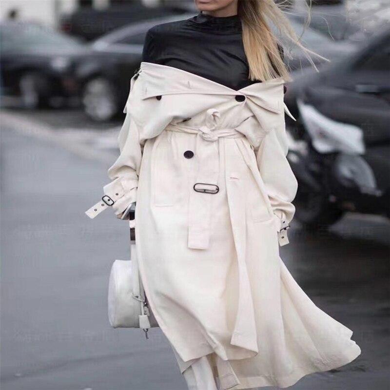 UK Brand New Fashion 2020 Runway Designer Simple Classic Maxi Long Trench Coat Chic Female Windbreaker White Black Khaki