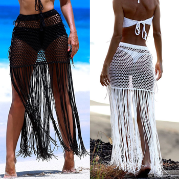 Gypsy Boho Hand Crochet Tassel Skirt, with long fringe Beach Skirt Net Festival clothing - sale item Swimwears