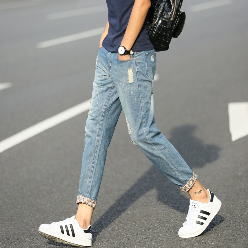 Summer Thin Section Korean-style MEN'S Jeans Teenager Fashion Two-color With Holes Capri Pants Sub-931
