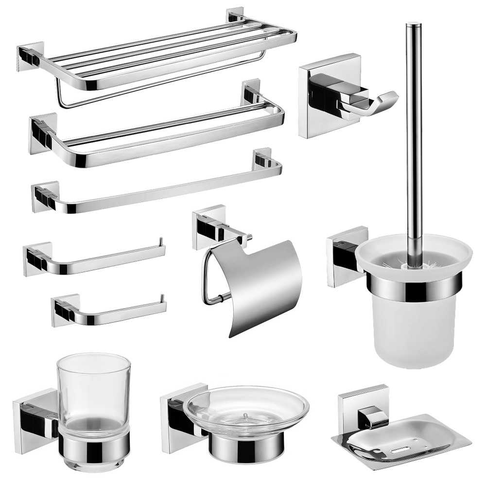 Sus 304 Stainless Steel Bathroom Hardware Set Bathroom Accessories Mirror Polished Paper Holder Toothbrush Holder Towel Bar Bathroom Accessories Sets Aliexpress