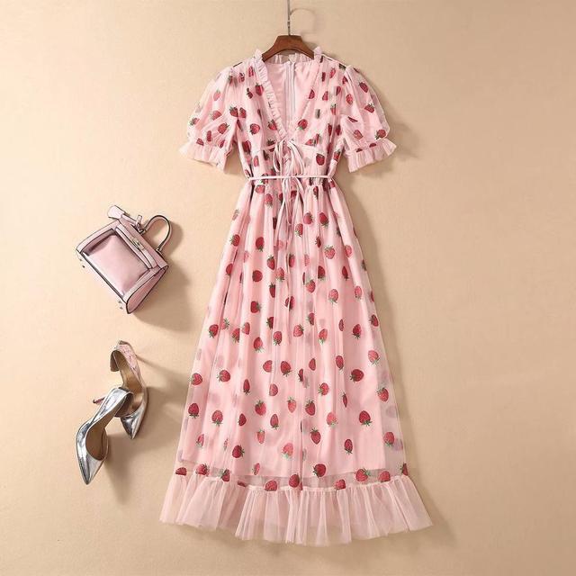 Платье женское средней длины с коротким рукавом и V-образным вырезом 2