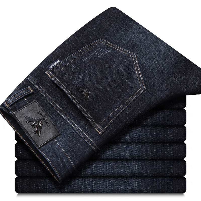 AJ Autumn And Winter MEN'S Jeans Straight-Cut Business Elasticity Casual Washing Europe And America Brand Men'S Wear Export