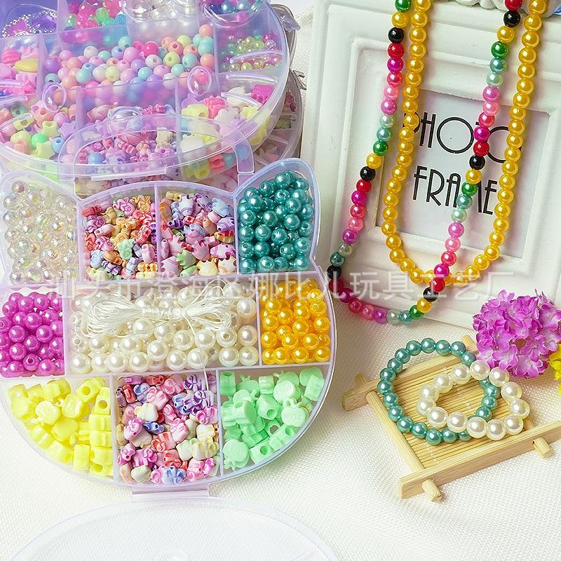 Fun Beaded Bracelet Children'S Educational DIY Beaded Bracelet Rosary Box Bracelets Necklace Material Box Kitty Box Set