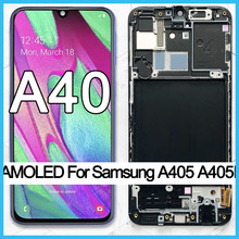 100% Super AMOLED For Samsung A40 LCD 2019 A405 LCD display touch Screen Digitizer Assembly with frame replacement repair parts