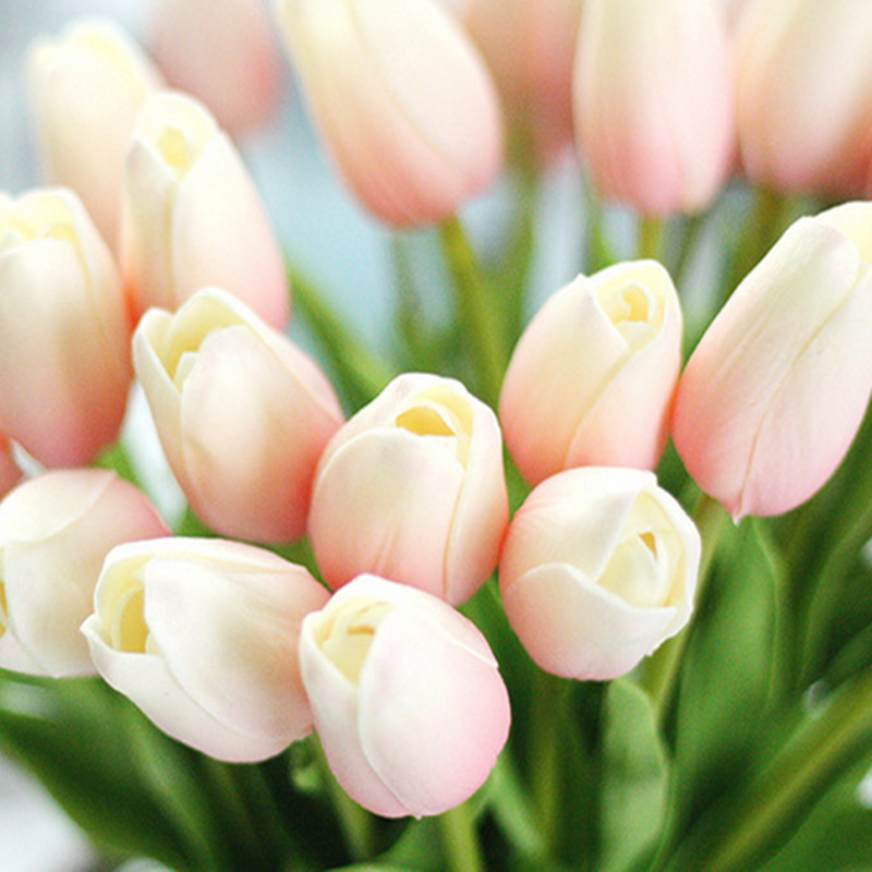 1PC PU Mini Tulips Artificial Flowers For Home And Wedding Decoration Flowers 18