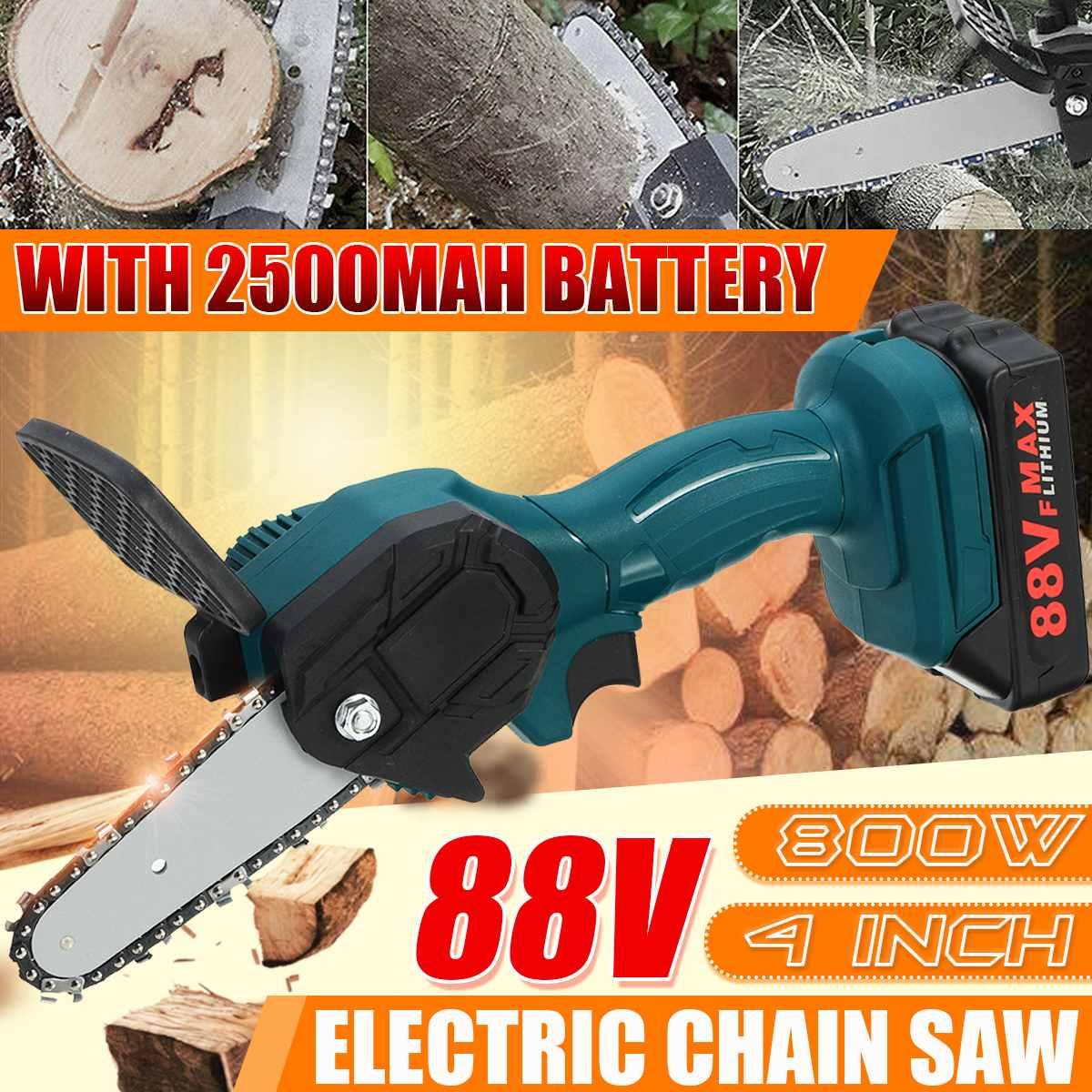 88v 800w serra de corrente elétrica bateria de lítio mini poda ferramenta de jardim com serra de corrente ferramenta de madeira recarregável