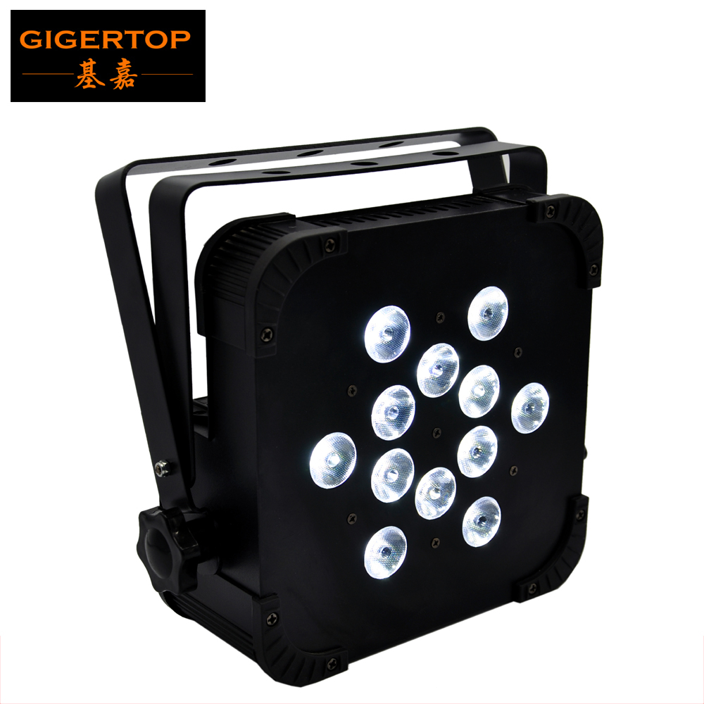 Gigertop TP-G3045-4IN1 12x12W RGBW 4IN1 Color Flat Led Par Light Bright Tyanshine Leds Fan Cooling DMX  4/7 Channels 110V-220V