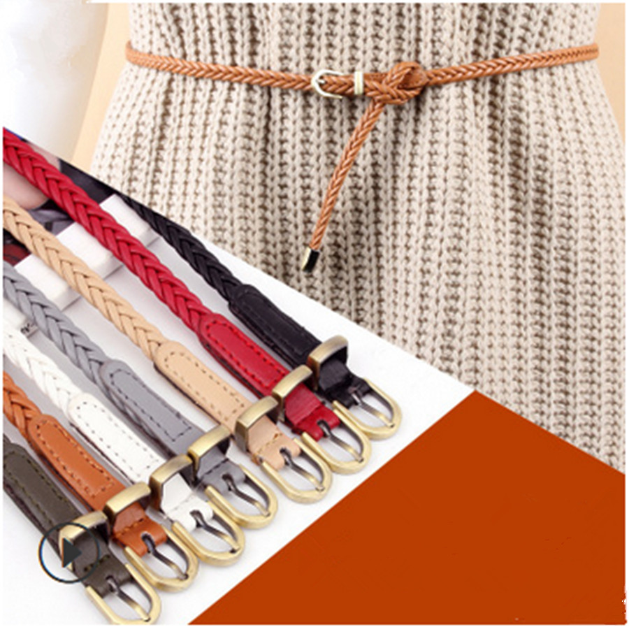 New Durable Hand-woven Belt Female Pin Buckle Retro Casual Wild Thin Belt Waist Rope Decorative Belt