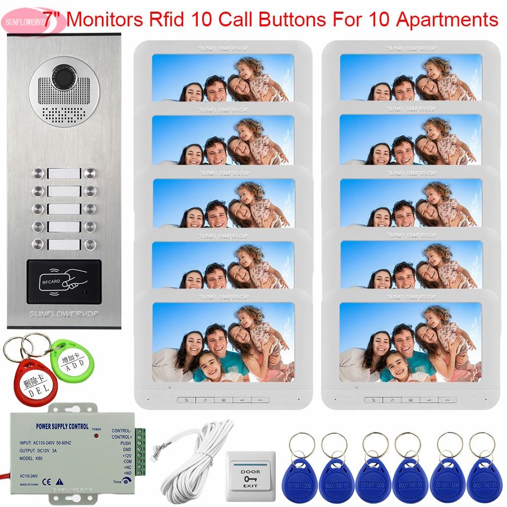 Doorbell With Camera And Screen Access Control 10 Monitors Video Door Phone Intercom Home 7 Inch Intercom Universal Intercom Key