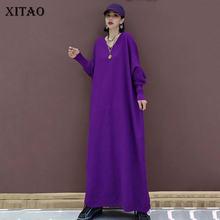 XITAO Western Style robes femmes grande taille col en V robe en tricot longue surdimensionné femmes vêtements 2020 couleur unie tendance nouveau ZP3143