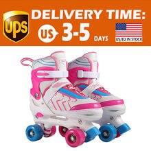 Регулируемый размер детские роликовые коньки двухрядные 4 колеса