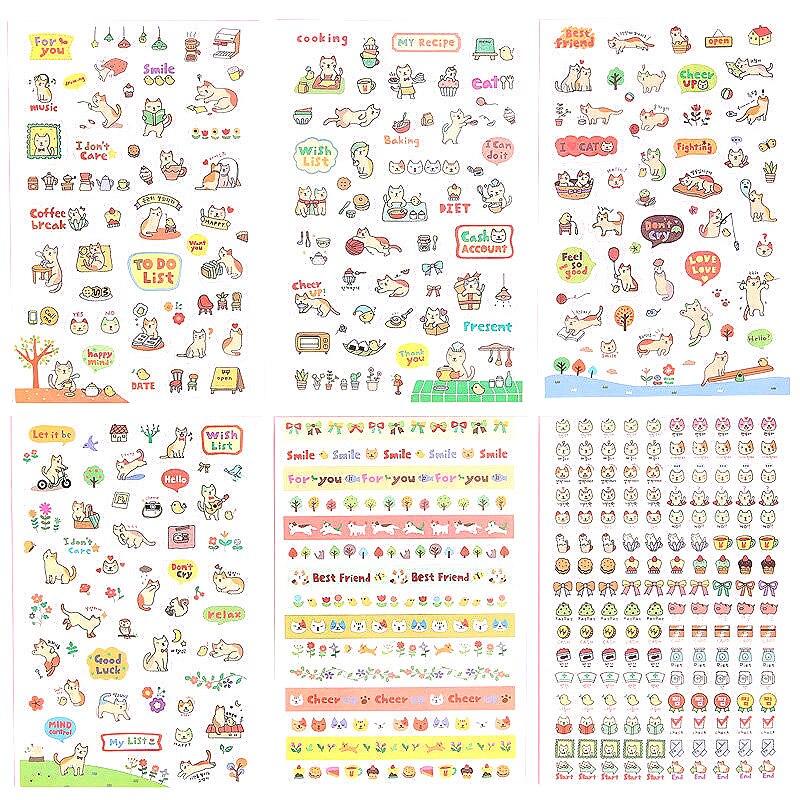 Наклейки с милыми рисунками, 6 шт., клейкие бумажные стикеры для детей, принадлежности для скрапбукинга DIY, принадлежности для альбома