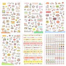 6 pçs bonito dos desenhos animados adesivos kawaii papelaria adesivos de papel adesivo adesivo para crianças diy scrapbooking álbuns suprimentos