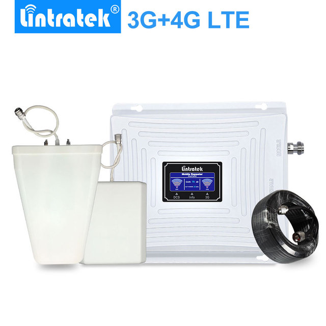 Lintratek 3g gsm 4g repetidor de sinal 4g lte 1800 gsm 1800 mhz 3g umts 2100 mhz lcd amplificador de reforço de sinal de telefone móvel kit completo.