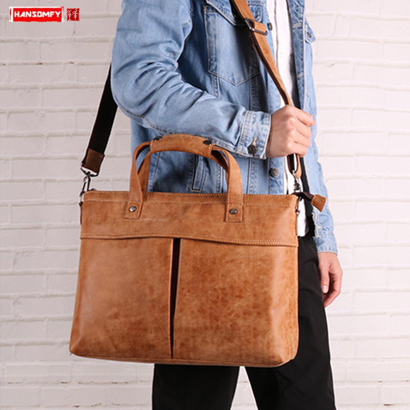 Briefcase Men's Bag Shoulder Messenger Bag 2019 New Fashion Leather Business Tide Brand Portable Men's Leather Computer Bags