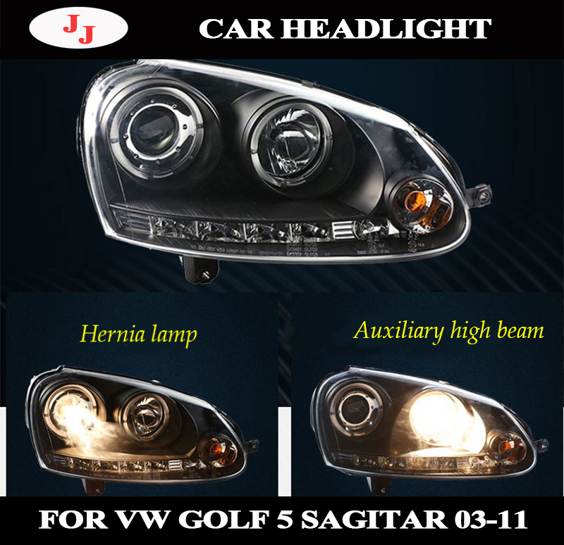 LED Angel Eyes Headlights For Volkswagen Sagitar Golf 5 MK5 Head Lamps 2003 2004 2005 2006 2007 2008 Year With Daytime Running