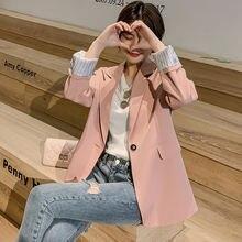 Корейский женский пиджак маленький костюм куртка с длинным рукавом
