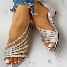 Karinluna New Wholesale Wedge Med Heel Sandals Leisure Bling Summer Slip On Glad