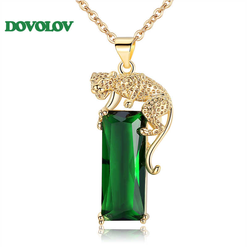 Dovolov חדש פשוט בעלי החיים Leopard תליון שרשראות לנשים נחושת Zirconia שרשראות קסמי ירוק פנינה קריסטל מתנה D5