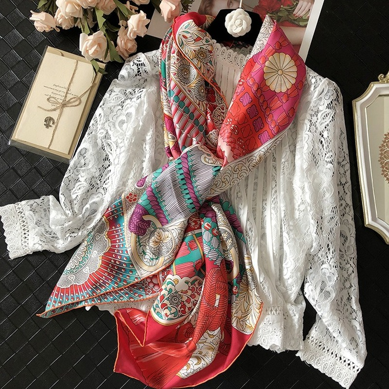 100% Real Silk Twill Scarf Fashion Women Scarves Shawl Coat Wrap Ponchos And Capes 6 Color Armor Samurai Pattern 140cm