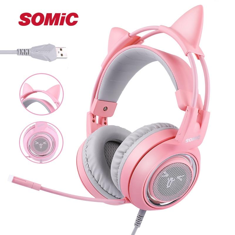 SOMIC G951 Pink Cat Ear Headphones Virtual 7 1 Noise Cancelling Gaming Headphone Vibration LED USB