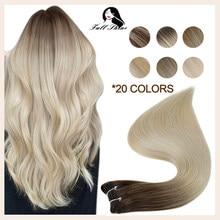 Extensions de cheveux naturels Remy, couleur blond ombré, 100g, Double trame, cousu en Machine, soyeux