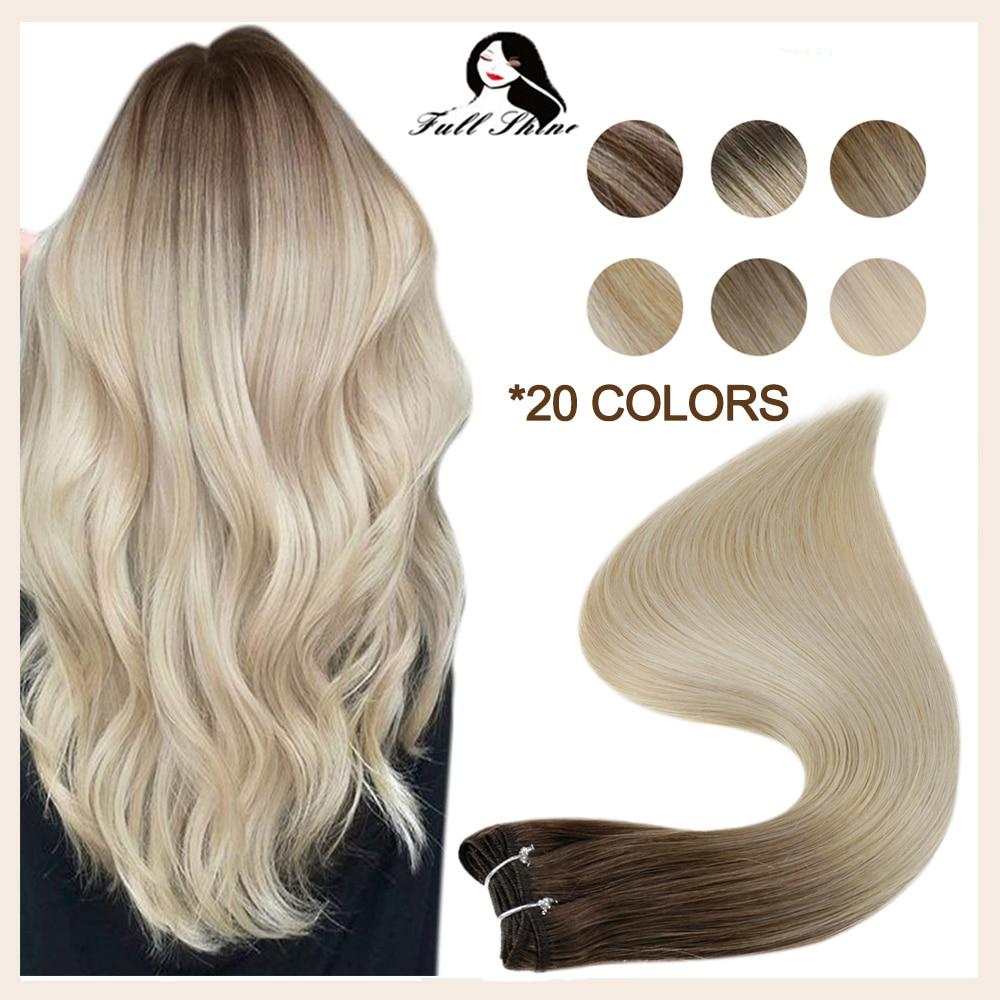 Brilho completo trama extensão do cabelo humano balayage cor 100g costurar em pacotes de seda em linha reta máquina do cabelo humano remy pele dupla trama
