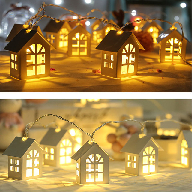 Led Garland Wood House String Light Room Decor String Lamp Wedding Party Holiday Fairy Lights Novelty Lamp Warm White