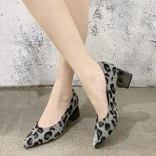EOEODOIT Sexy léopard travail talons chaussures femmes printemps automne fourrure Med talon épais bout pointu pompes sans lacet chaussures 5 cm