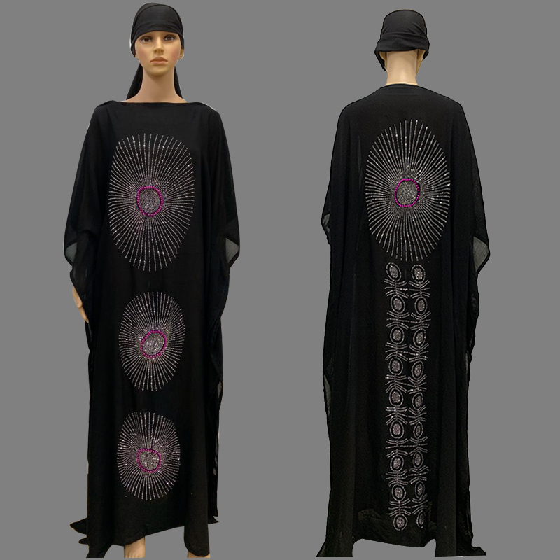 Fashion Africa Style Abaya Long Dashiki Diamond And Flower Clothes Black Dress With Scarf Loose Muslim Robe For African BIG Lady