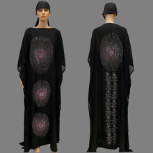 Dress Abaya Muslim-Robe Dashiki Diamond Africa-Style Scarf Flower-Clothes Black Long