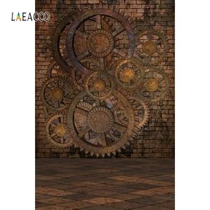 Image 2 - Pared de ladrillo viejo piso de madera Steampunk casa oxidado engranajes fotografía fondos Vintage Grunge retrato fotofono