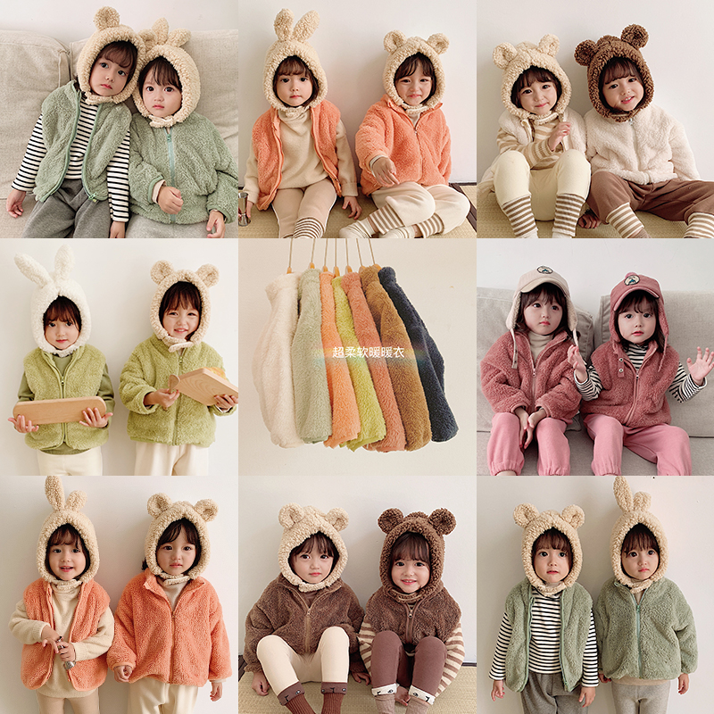 Winter Coat Children Long Sleeve Fleece Coat Kids Solid Color Soft Vest Cotton Warm Coat Toddler Clothing