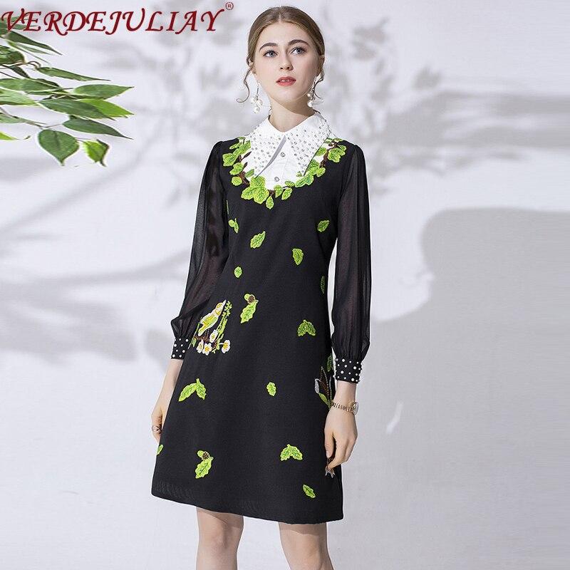 VERDEJULIAY, осень 2019, модное подиумное офисное платье, женское, длинный рукав, вышивка бисером, черное, ТРАПЕЦИЕВИДНОЕ, тонкое, элегантное платье